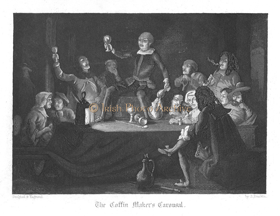 The coffin maker's carousel. Chowles the coffin maker is on table in centre, and Judith Malmayns the treacherous plague nurse is seated on the left. Illustration by John Franklin (active 1800-1861) for William Harrison Ainsworth 'Old Saint Paul's', London 1855 (first published 1841).