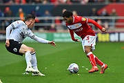 Jay Dasilva (3) of Bristol City on the attack during the EFL Sky Bet Championship match between Bristol City and Derby County at Ashton Gate, Bristol, England on 27 April 2019.