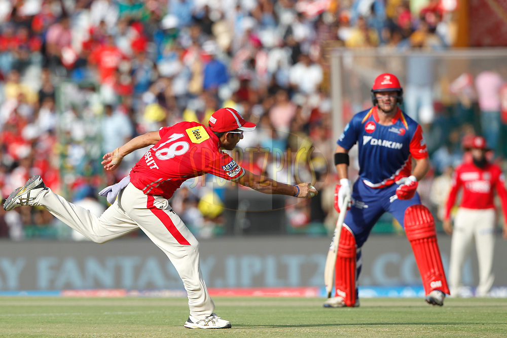 Mohit Sharma of Kings XI Punjab in action during match 36 of the Vivo 2017 Indian Premier League between the Kings XI Punjab and the Delhi Daredevils  held at the Punjab Cricket Association IS Bindra Stadium in Mohali, India on the 30th April 2017<br /> <br /> Photo by Deepak Malik - Sportzpics - IPL