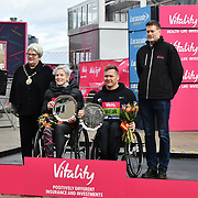 Margriet van den Broek and David Weir winner of the wheelchairs at The Vitality Big Half 2019 on 10 March 2019, London, UK.