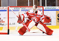 2020-02-01 | Ljungby, Sweden: Troja-Ljungby (28) Anton Svensson during warm up before the game between IF Troja / Ljungby and Skövde IK at Ljungby Arena ( Photo by: Fredrik Sten | Swe Press Photo )<br /> <br /> Keywords: Ljungby, Icehockey, HockeyEttan, Ljungby Arena, IF Troja / Ljungby, Skövde IK, fsts200201, ATG HockeyEttan, Allettan