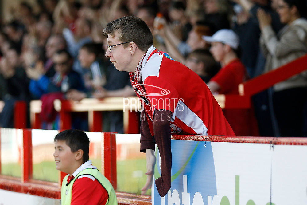 Crawley Town fan celebrates a goal (score 1-1) during the EFL Sky Bet League 2 match between Crawley Town and Coventry City at the Checkatrade.com Stadium, Crawley, England on 14 April 2018. Picture by Andy Walter.