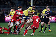 Peceli Yato of Clermont and Baptiste Couilloud of Lyon and Felix Lambey of Lyon during the French championship Top 14 Rugby Union match between Lyon OU and Clermont on February 17, 2018 at Groupama stadium in Lyon, France - Photo Romain Biard / Isports / ProSportsImages / DPPI