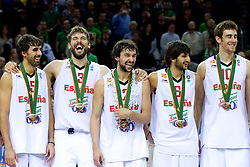 Victor Sada of Spain, Marc Gasol of Spain, Sergio Llull of Spain, Ricky Rubio of Spain and Victor Claver of Spain celebrate at medal ceremony after the final basketball game between National basketball teams of Spain and France at FIBA Europe Eurobasket Lithuania 2011, on September 18, 2011, in Arena Zalgirio, Kaunas, Lithuania. Spain defeated France 98-85 and became European Champion 2011, France placed second and Russia third. (Photo by Vid Ponikvar / Sportida)