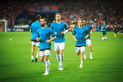 Dani Carvajal of Real Madrid, Toni Kroos of Real Madrid, Luka Modric of Real Madrid at warming up prior to the UEFA Champions League final football match between Liverpool and Real Madrid at the Olympic Stadium in Kiev, Ukraine on May 26, 2018.Photo by Sandi Fiser / Sportida