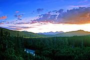 Alaska bush country at midnight. Central Brooks Range north of Bettles, Alaska