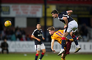 Dundee&rsquo;s Kostadin Gadzhalov outjumps Motherwell's Dylan Falconer - Dundee under 20s v Motherwell in the SPFL development league at Dens Park, Dundee<br /> <br /> <br />  - &copy; David Young - www.davidyoungphoto.co.uk - email: davidyoungphoto@gmail.com