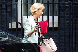 London, July 4th 2017. Leader of the House of Commons Andrea Leadsom attends the weekly cabinet meeting at 10 Downing Street in London.