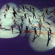 Members of the US Olympic team are seen during the Smucker's Skating Spectacular at the TD Garden on January 12, 2014 in Boston, Massachusetts.
