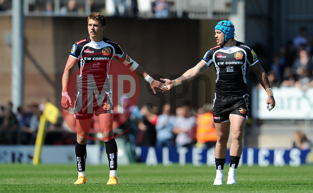 Exeter Chiefs Henry Slade and Exeter Chiefs Jack Nowell Photo mandatory by-line: Harry Trump/JMP - Mobile: 07966 386802 - 16/05/15 - SPORT - RUGBY - Aviva Premiership - Exeter Chiefs v Sale Sharks - Sandy Park, Exeter, England.