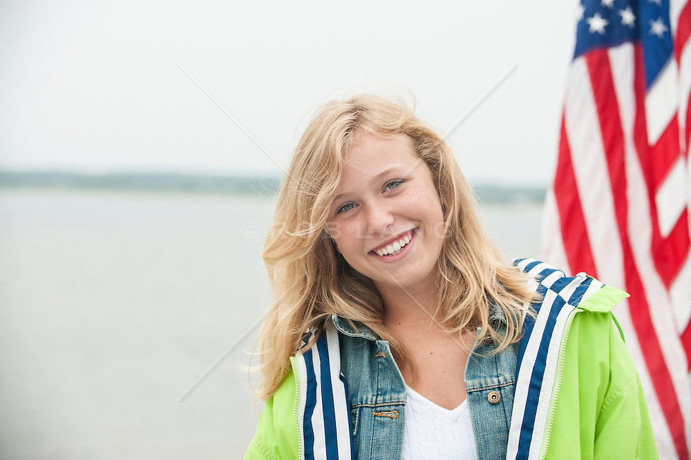 portrait of an All American teenage girl in East Hampton, NY