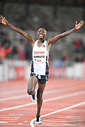 Rhonex Kipruto (KEN) celebrates after winning the 10,000m in 26:50.16 during the Bauhaus-Galan in a IAAF Diamond League meet at Stockholm Stadium in Stockholm, Sweden on Thursday, May 30, 2019. (Jiro Mochizuki/Image of Sport)