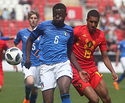 May 17, 2018 - United Kingdom - Paolo Gozzi Iweru of Italy Under 17 .during the UEFA Under-17 Championship Semi-Final match between Italy U17s against Belgium U17s at New York Stadium, Rotherham United FC, England on 17 May 2018. (Credit Image: © Kieran Galvin/NurPhoto via ZUMA Press)