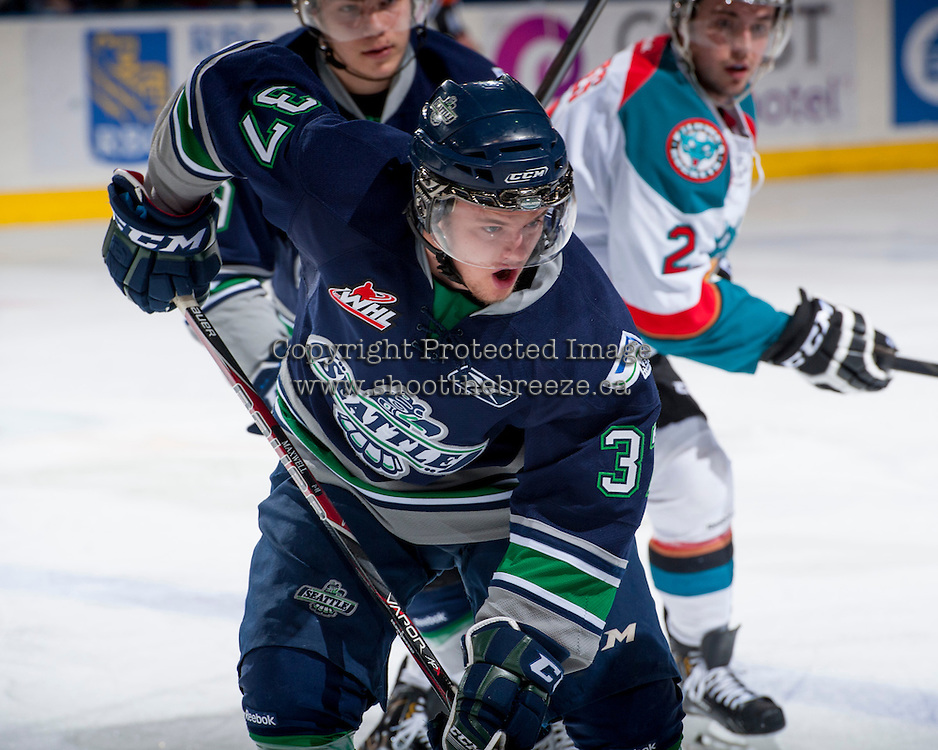 KELOWNA, CANADA - APRIL 3: Russell Maxwell #37 of the Seattle Thunderbirds skates against the Kelowna Rockets on April 3, 2014 during Game 1 of the second round of WHL Playoffs at Prospera Place in Kelowna, British Columbia, Canada.   (Photo by Marissa Baecker/Getty Images)  *** Local Caption *** Russell Maxwell;