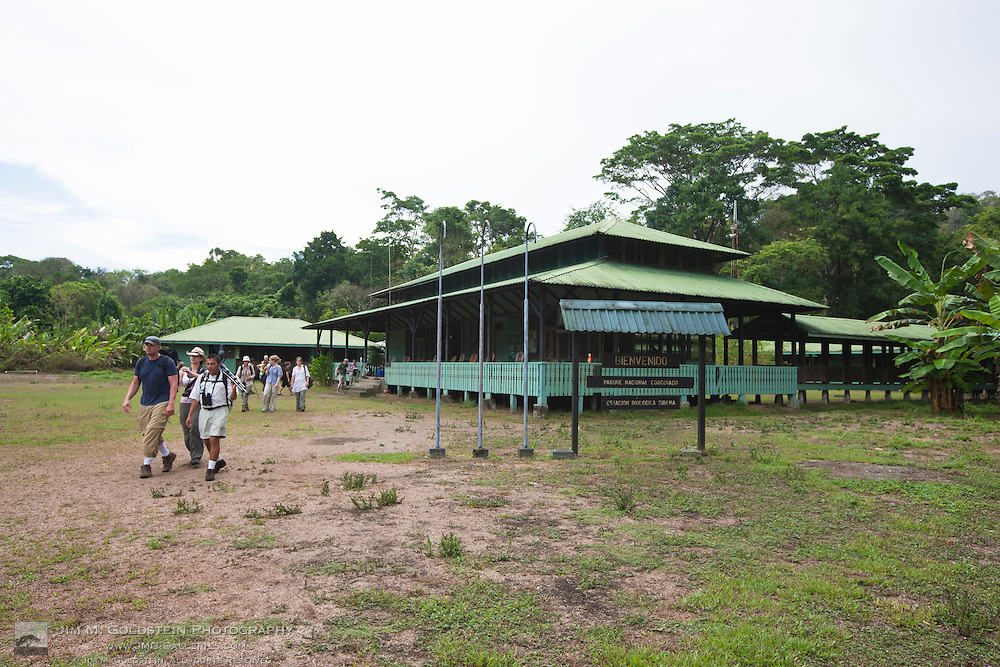 Tourists leave Sirena Biological Station on a wildlife walking tour in Corcovado National Park, Costa Rica