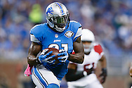 Detroit Lions wide receiver Calvin Johnson (81) passes the ball after making a reception against the Arizona Cardinals during an NFL football game at Ford Field in Detroit, Sunday, Oct. 11, 2015. (AP Photo/Rick Osentoski)