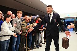 Andrea Belotti of Italy greets fans on arrival at the Etihad Stadium - Mandatory by-line: Matt McNulty/JMP - 23/03/2018 - FOOTBALL - Etihad Stadium - Manchester, England - Argentina v Italy - International Friendly