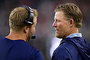 HOUSTON, TX - AUGUST 29:  Head Coach Sean McVay talks with GM Les Snead of the Los Angeles Rams on the sidelines during a game against the Houston Texans during week four of the preseason at NRG Stadium on August 29, 2019 in Houston, Texas. The Rams defeated the Texans 22-10.   (Photo by Wesley Hitt/Getty Images) *** Local Caption *** Sean McVay; Les Snead