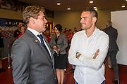 ALKMAAR - 28-08-2016, AZ - NEC, AFAS Stadion, 2-0, Max Huiberts (l) neemt afscheid van Vincent Janssen.