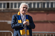 Council Leader Stephen Alambritis speaks ahead of the AFC Wimbledon Demolition Event, marking the start of building works at the AFC Wimbledon Stadium Site, Plough Lane, United Kingdom on 16 March 2018. Picture by Stephen Wright.