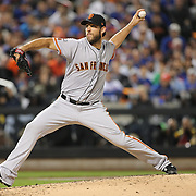 NEW YORK, NEW YORK - October 5: Pitcher Madison Bumgarner #40 of the San Francisco Giants pitching during the San Francisco Giants Vs New York Mets National League Wild Card game at Citi Field on October 5, 2016 in New York City. (Photo by Tim Clayton/Corbis via Getty Images)