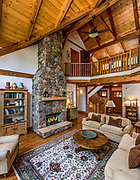 View of the Great Room of a home in the Lake James community of Dry Creek in Morganton, North Carolina.