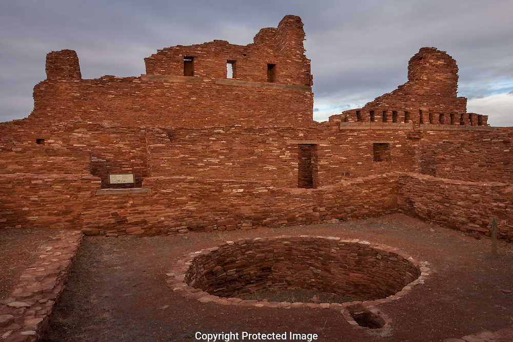 Abo Mission, with kiva in courtyard, Salinas Pueblo Missions National Monument, New Mexico