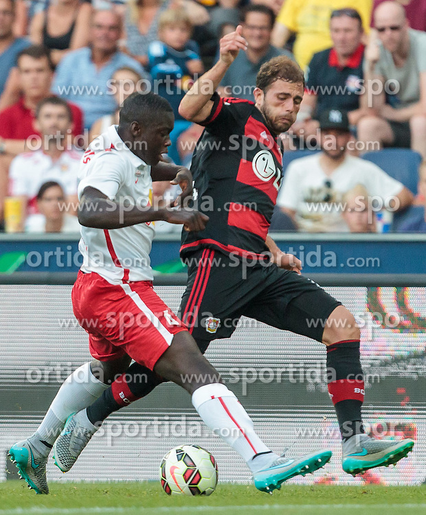 21.07.2015, Red Bull Arena, Salzburg, AUT, Testspiel, FC Red Bull Salzburg vs Bayer 04 Leverkusen, im Bild v.l.: Dayot Upamecano (FC Red Bull Salzburg), Admir Mehmedi (Bayer 04 Leverkusen) // during the International Friendly Football Match between FC Red Bull Salzburg and Bayer 04 Leverkusen at the Red Bull Arena in Salzburg, Austria on 2015/07/21. EXPA Pictures © 2015, PhotoCredit: EXPA/ JFK