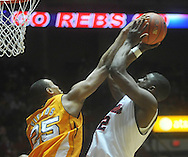 "Ole MIss forward Reginald Buckner (2) has his shot blocked by Tennessee's John Fields (25) at the C.M. ""Tad"" Smith Coliseum in Oxford, Miss. on Satursday, January 29, 2011. Tennessee won 74-57. (AP Photo/Oxford Eagle, Bruce Newman)"
