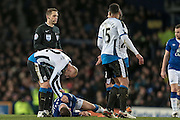 Jonjo Shelvey (Newcastle United) checks on Ross Barkley (Everton) having fouled him during the Barclays Premier League match between Everton and Newcastle United at Goodison Park, Liverpool, England on 3 February 2016. Photo by Mark P Doherty.