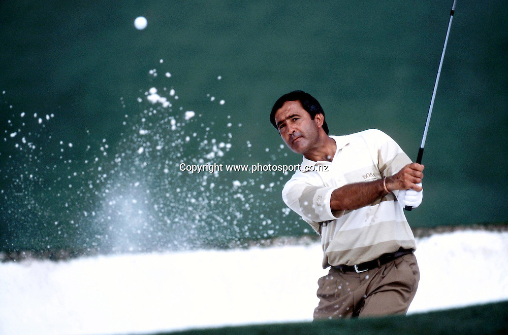 April 1998: Spanish golfer SEVE BALLESTEROS (ESP) hits out of as bunker during the Masters at Augusta National Golf Course in Augusta, GA. <br />