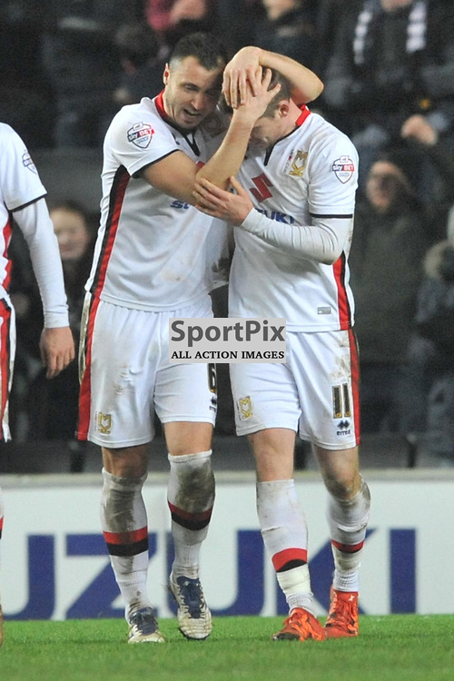 DONS SIMON CHURCH  SCORES MK SECOND THIRD GOAL FROM THE PENALTY SPOT, IN THE 89TH MINUTE  AND CELEBRATES, MK Dons v Northampton Town, FA Cup Emirates FA Cup Third round Repay, Stadium MK, Tuesday 19th January 2016
