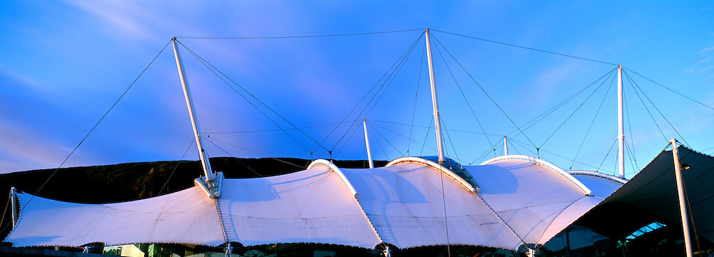 Evening colours over the roof of Our Dynamic Earth toursit attraction, Edinburgh