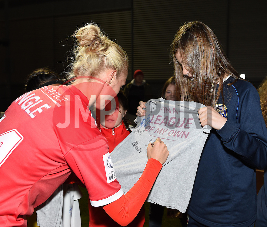 Sophie Ingle of Bristol Academy Women signs a shirt for a young fan - Mandatory by-line: Paul Knight/JMP - Mobile: 07966 386802 - 04/10/2015 -  FOOTBALL - Stoke Gifford Stadium - Bristol, England -  Bristol Academy Women v Liverpool Ladies FC - FA Women's Super League