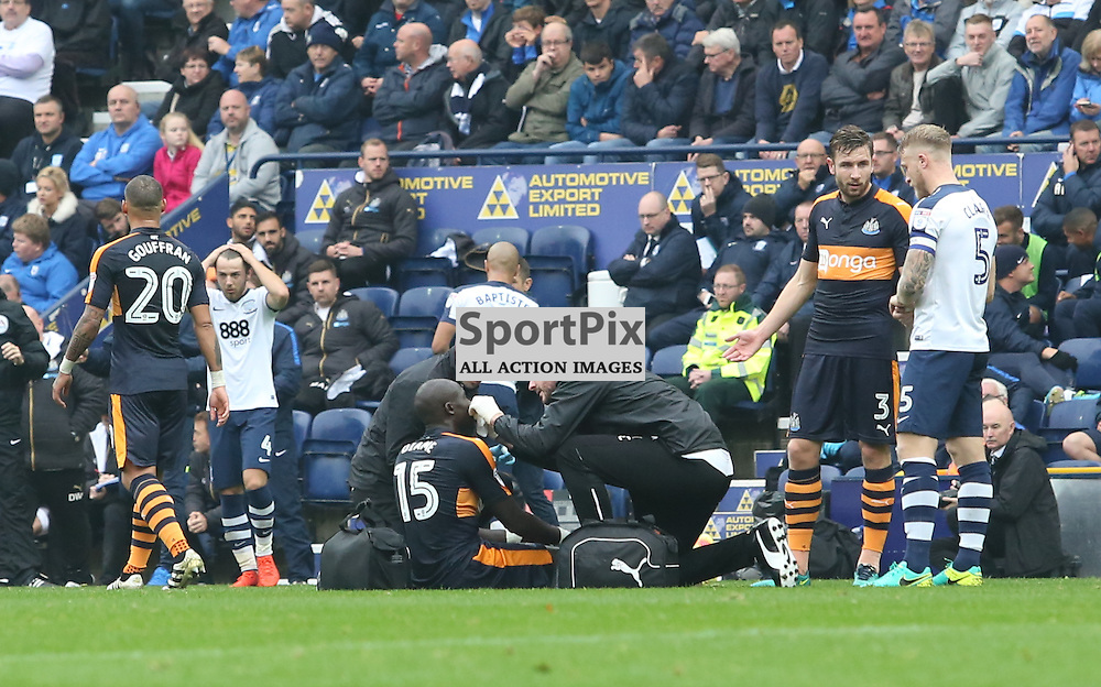 Concern for Newcastle's Mohamed Diane after a head knock during the Preston North End FC V Newcastle United FC English Championship 29th October 2016  ©Edward Linton | SportPix.org.uk