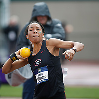 Georgia's Kendell Williams competes in the heptathlon shot put on the third day of the NCAA outdoor college track and field championships in Eugene, Ore., Friday, June 9, 2017. Williams is lead the heptathlon with 2774 points. (AP Photo/Timothy J. Gonzalez)
