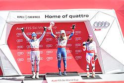 18.03.2017, Aspen, USA, FIS Weltcup Ski Alpin, Finale 2017, Slalom, Damen, Siegerehrung, im Bild Veronika Velez Zuzulova (SVK 2. Platz Slalom-Weltcup)Mikaela Shiffrin (USA, 2. Platz und Slalom-Weltcupsiegerin)Wendy Holdener (SUI, 3. Platz Slalom-Weltcup) // Slalom World Cup second placed Veronika Velez Zuzulova of Slovakiasecond placed and Slalom World Cup winner Mikaela Shiffrin of the USAslalom World Cup third placed Wendy Holdener of Switzerland during the winner award ceremony for the ladie's Slalom of 2017 FIS ski alpine world cup finals. Aspen, United Staates on 2017/03/18. EXPA Pictures © 2017, PhotoCredit: EXPA/ Erich Spiess