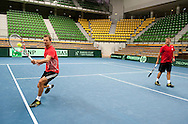 (L) Mariusz Fyrstenberg and (R) Marcin Matkowski both of Poland while their training session two days before the BNP Paribas Davis Cup 2013 between Poland and South Africa at MOSiR Hall in Zielona Gora on April 03, 2013...Poland, Zielona Gora, April 03, 2013..Picture also available in RAW (NEF) or TIFF format on special request...For editorial use only. Any commercial or promotional use requires permission...Photo by © Adam Nurkiewicz / Mediasport