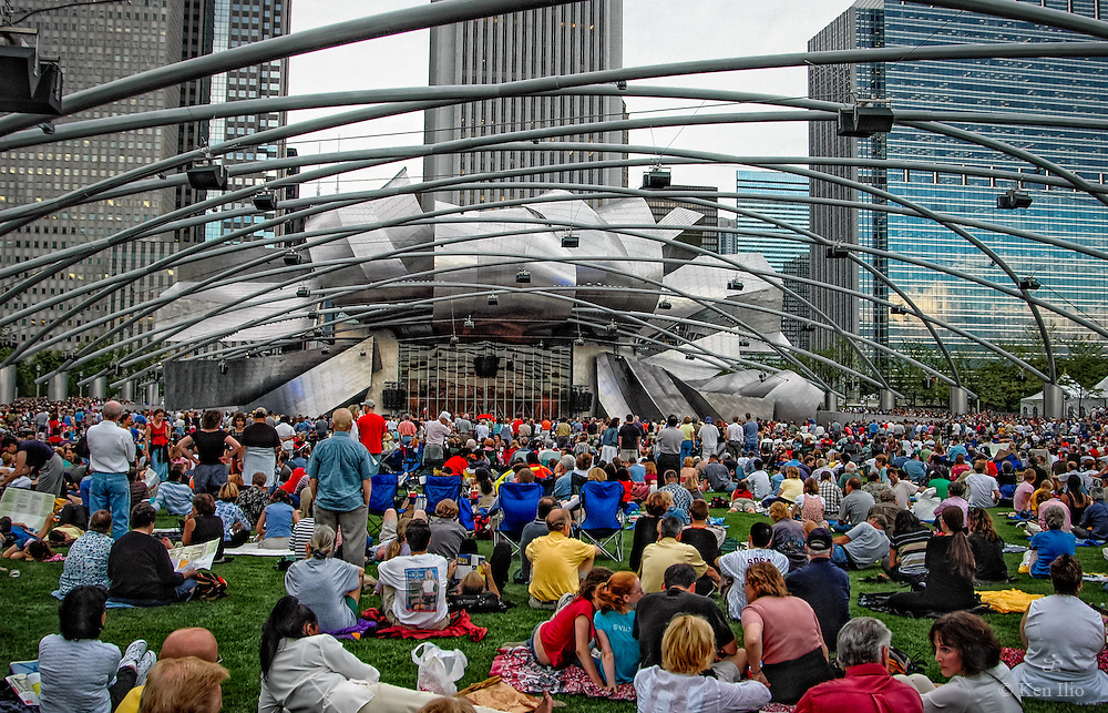 Opening day at Millennium Park, Jay Pritzker Pavilion, July 16, 2004.  The Jay Pritzker Pavilion is designed by the Pritzker Prize winner architect, Frank Gehry.