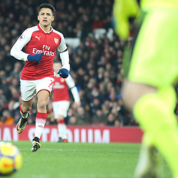 Alexis Sanchez of Arsenal chases down the ball during Arsenal vs Huddersfield, Premier League, 29.11.17 (c) Harriet Lander | SportPix.org.uk