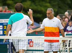 Liverpool, England - Saturday, June 16, 2007: Mansour Bahrami & Cedric Pioline in action during Legends Doubles on day five of the Liverpool International Tennis Tournament at Calderstones Park. For more information visit www.liverpooltennis.co.uk. (Pic by David Rawcliffe/Propaganda)