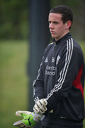 KIRKBY, ENGLAND - Friday, February 24, 2012: Liverpool's goalkeeper Danny Ward warms up before the FA Premier League Academy match against Everton at the Kirkby Academy. (Pic by David Rawcliffe/Propaganda)