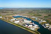 Nederland, Friesland, Harlingen, 28-02-2016; Harlingen met Nieuwe Industriehaven. Links, met gele opbouw, de omstreden afvalverbrandingsoven van Omrin.<br /> Harlingen harbor.<br /> luchtfoto (toeslag op standard tarieven);<br /> aerial photo (additional fee required);<br /> copyright foto/photo Siebe Swart