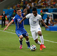 Raheem Sterling of England and Marco Verratti of Italy during the 2014 FIFA World Cup match at Arena da Amazonia, Manaus<br /> Picture by Andrew Tobin/Focus Images Ltd +44 7710 761829<br /> 14/06/2014