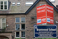 Brantwood School, a private non state school, the  building for sale following its closure due to the recession.