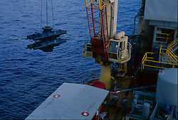 Stock photo of a Ram Blow Out Preventer brought aboard an offshore drilling rig