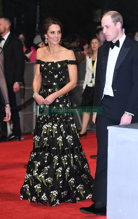 The Duke and Duchess of Cambridge attending the EE British Academy Film Awards held at the Royal Albert Hall, Kensington Gore, Kensington, London. Picture date: Sunday February 12, 2017. Photo credit should read: Doug Peters/ EMPICS Entertainment
