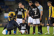 Onderwerp/Subject: RKC Waalwijk - Eredivisie<br /> Reklame:  <br /> Club/Team/Country: <br /> Seizoen/Season: 2012/2013<br /> FOTO/PHOTO: Imad NAJAH (ON GROUND) of RKC Waalwijk injured and Referee Pol VAN BOEKEL and Teddy CHEVALIER (BEHIND) of RKC Waalwijk and Florian JOZEFZOON (R) of RKC Waalwijk. (Photo by PICS UNITED)<br /> <br /> Trefwoorden/Keywords: <br /> #03 #06 #08 #18 $94 ±1342772543138 ±1342772543138<br /> Photo- & Copyrights © PICS UNITED <br /> P.O. Box 7164 - 5605 BE  EINDHOVEN (THE NETHERLANDS) <br /> Phone +31 (0)40 296 28 00 <br /> Fax +31 (0) 40 248 47 43 <br /> http://www.pics-united.com <br /> e-mail : sales@pics-united.com (If you would like to raise any issues regarding any aspects of products / service of PICS UNITED) or <br /> e-mail : sales@pics-united.com   <br /> <br /> ATTENTIE: <br /> Publicatie ook bij aanbieding door derden is slechts toegestaan na verkregen toestemming van Pics United. <br /> VOLLEDIGE NAAMSVERMELDING IS VERPLICHT! (© PICS UNITED/Naam Fotograaf, zie veld 4 van de bestandsinfo 'credits') <br /> ATTENTION:  <br /> © Pics United. Reproduction/publication of this photo by any parties is only permitted after authorisation is sought and obtained from  PICS UNITED- THE NETHERLANDS