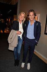 Lawrence van Hagen and his mother Susanne Van Hagen at the 2017 PAD Collector's Preview, Berkeley Square, London, England. 02 October 2017.