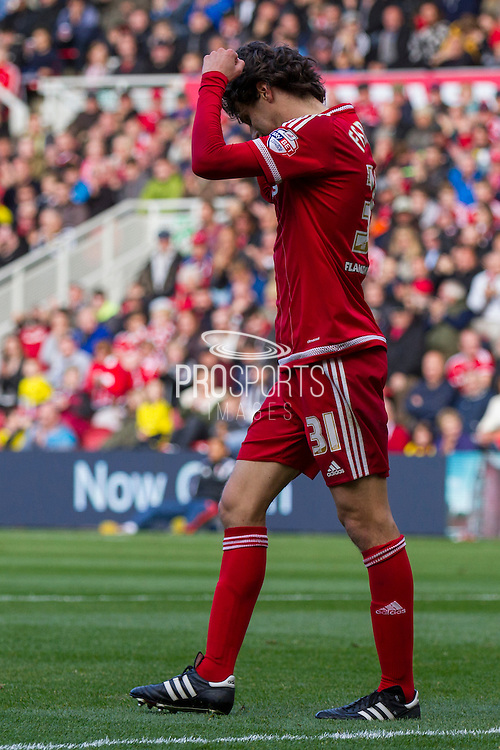 Middlesbrough FC striker Diego Fabbrini narrowly fails to score during the Sky Bet Championship match between Middlesbrough and Fulham at the Riverside Stadium, Middlesbrough, England on 17 October 2015. Photo by George Ledger.